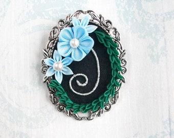 Tsumami Kanzashi Brooch-Blue Silk Flowers and Laurel Wreath