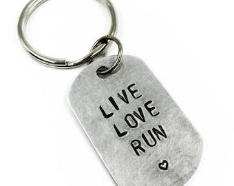 Live Love Run Keychain | Hand Stamped Key Chain Gift for Runner | Running Motivation | Marathon Gift | 5K Jewelry | Color Run | Inspiration