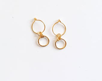 Small circle hoop earrings, gold filled hoops