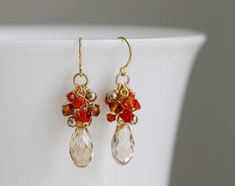 Golden Shadow Swarovski Crystal Drops Cluster Earrings