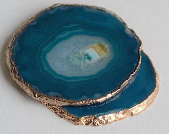 Plated Agate Coasters - Blue