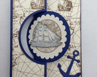 Birthday Card for Him, Masculine Birthday Card, Masculine Get Well Card, Nautical Flip It Card