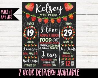 Strawberry First Birthday Chalkboard - 1st Birthday Chalkboard - Berry Sweet - 1st Birthday Sign Stats Chalkboard Pink Strawberry Bday Party