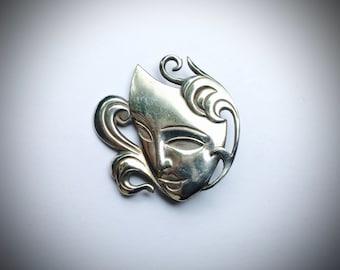 Theatre Mask Brooch