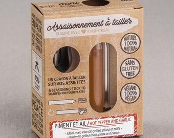 Coffret 1 saveur Assaisonnement à tailler Piment et ail, crayons d'épices & condiments, cadeau foodie pour cuisine innovante