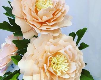Full bloom dahlia handmade paper florals-set of 3
