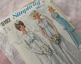 Vintage Size 36 Inch Bridal Gown with Redingcote: 1965 Simplicity Sewing Pattern No 6192