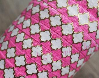 Foil Print Pink White Gold FOE - 5/8 Fold Over Elastic - Foldover Elastic - printed FOE - Elastic by the yard - Elastic Ribbon