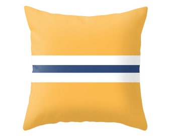 Yellow and navy blue pillow. Nautical decor. Navy blue and yellow striped throw pillow navy blue stripes pillow striped cushion striped