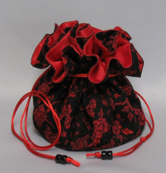 Jewelry Travel Tote---Drawstring Organizer Pouch---Red Roses Design---Large Size