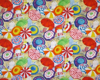 REMNANT--Colorful Beach Umbrellas Print Pure Cotton Fabric from Elizabeth's Studio--1/2 YARD