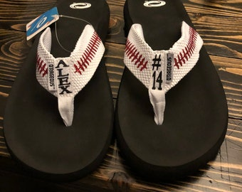 Customizable Baseball Flip Flops