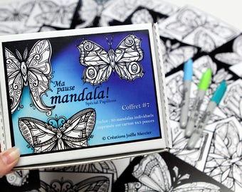 #7 break mandala special Butterfly box, included 30 small drawings to color every day