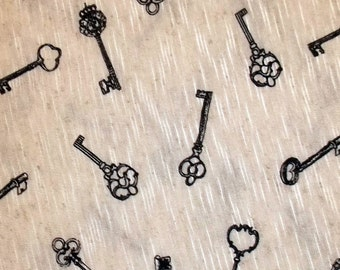 Antique SKELETON KEY soft knit fabric BTY