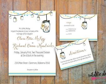 Mason Jar Wedding Invitation Kit