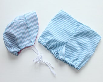 Pinstripe flat front baby bloomers