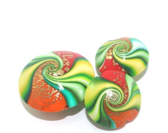 Colorful Polymer Clay beads, swirl lentil beads with tiny gold dots, elegant beads in red, orange and greens, Set of 3