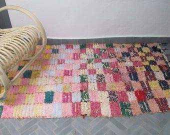 Vintage Moroccan Boucherouite Rug,Handwoven Rug,Bohemian Rug,RefBo301