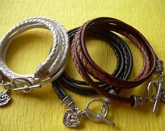 Heart Bracelet, Leather Wrap Bracelet, Heart Jewelry, Womens Leather Bracelet, Womens Gift, Womens Jewelry, Leather Jewelry, Girlfriend Gift