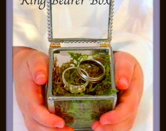"Wedding Ring Holder Glass Box Ring Bearer Pillow Alternative Engagement Ring Box Keepsake Jewelry Box Silver Ring Box 2x2x3""Tall"