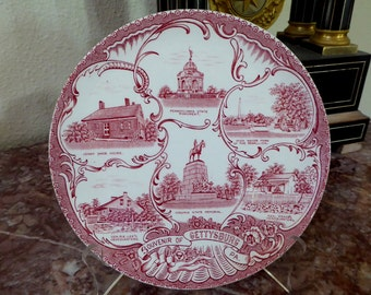 Staffordshire Gettysburg Plate Red and White, Gettysburg Plate Made in Staffordshire England (IC)