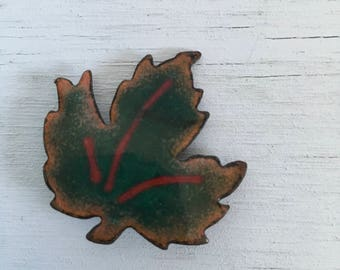 Enamel and copper maple leaf brooch 1960s vintage pin