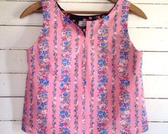 summer shirt sleeveless top - easy fit Small - pink candy floral stripes