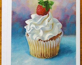 Cupcake - Birthday card - birthday notecard - cupcake card - greeting card - blank notecards - stationary