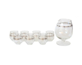 Vintage Silver Dorothy Thorpe Roly Poly Pitcher Decanter and Whiskey Shot Glass Set of 7