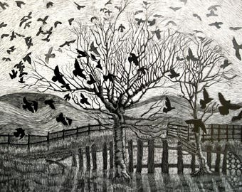Art Card Dance of Crows from original scraperboard