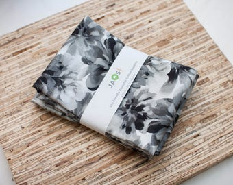 Large Cloth Napkins - Set of 4 - (N5630) - Monotone Floral Modern Reusable Fabric Napkins