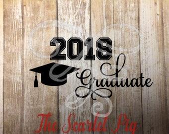 2018 Graduate svg, dxf, png, eps, pdf, Graduation, School, College Graduate, High School Graduate, hat, graduation cap, tassel