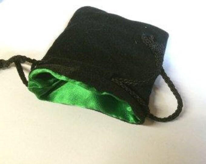 Dice Bags: Black Velvet Dice Bag w/ Green Satin Lining (Small)
