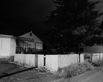 Dead of Night Series, Seattle Washington,  Black and White Matted Photograph in a Wood Frame