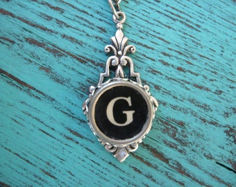 Typewriter Key Jewelry Initial Necklace Letter G - Typewriter Charm