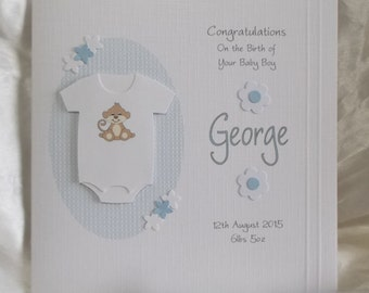 Personalised Handmade New Baby Boy or Girl Card with Monkey Babygrow...Pink or Blue