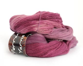 Pure yak handdyed laceweight yarn, 100% yak lace knitting Perran Yarns, Blackcurrant Sorbet purple plum yarn skein uk, free crochet pattern