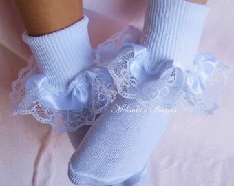 Lace-Satin Ribbon Socks Ruffled Socks Baby Socks Frilly Socks Infant Sock Little Girl's Socks Toddler Socks Christening Socks Wedding Socks