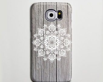 Grigio legno stampa floreale Samsung Galaxy S6 bordo caso, caso S6 Galaxy, Samsung S5 caso caso S4 S3, Samsung Galaxy Nota 3 caso nota 2