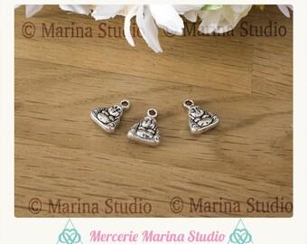 6 small Buddha silver charm 12x10mm * zen * reiki * chakras