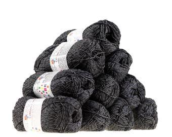 10 x 50g knitted yarn wool cotton Symbiosis, #01 black