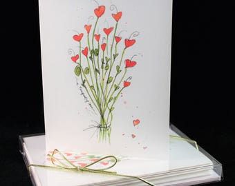 Valentine bouquet of love  Watercolor PRINT Card Set (Set of Four) Watercolor Cards, love cards, happy Valentine's Day