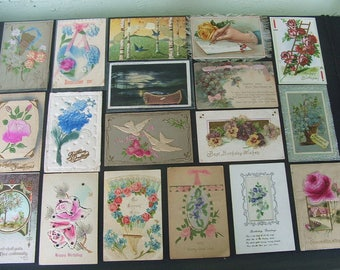 20 Early Novelty Mostly Birthday Postcards, 1900-1915