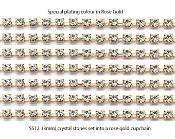 Rose gold plated chain SS12 3mm, SS8.5 2.5mm and SS16 4mm cup chain set with crystal stones.  Price is for 1 meter of chain.