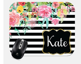 Personalized Mouse Pad- Monogram Mousepad- Custom Mouse Pad- Floral Mouse Pad- Computer Accessories