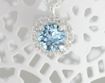 Aquamarine necklace,swarovski necklace,Swarovski aquamarine,birthstone necklace,march birthstone,gift for her,gift for friend,birthday gift