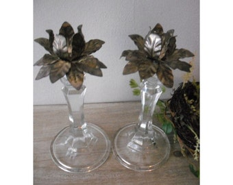 upcycled Crystal and silverplate tole floral candle holders ....Romantic cottage Chic