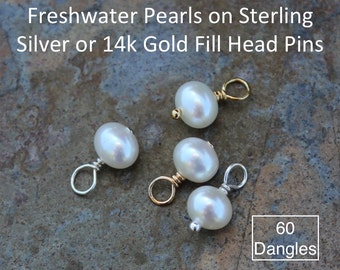 Sixty (60) 5mm - 6mm white freshwater potato pearl charms drops - Sterling silver or 14k gold filled closed loop wire wrapped dangles