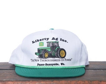 Vintage Trucker Hat Snapback Hat Baseball Cap Libery Ag Washington John Deere Tractors Farm Equipment