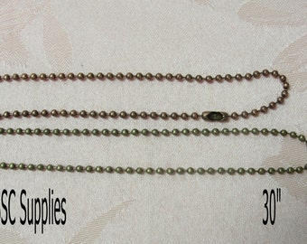 """10- Ball Chain Necklaces 30"""" length - 2.4mm,Chain,  Antique Copper Chain, Antique Brass Jewelry Necklace Chain"""